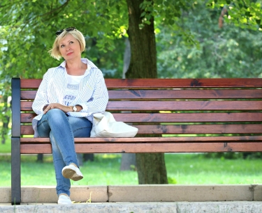 Older woman on park bench